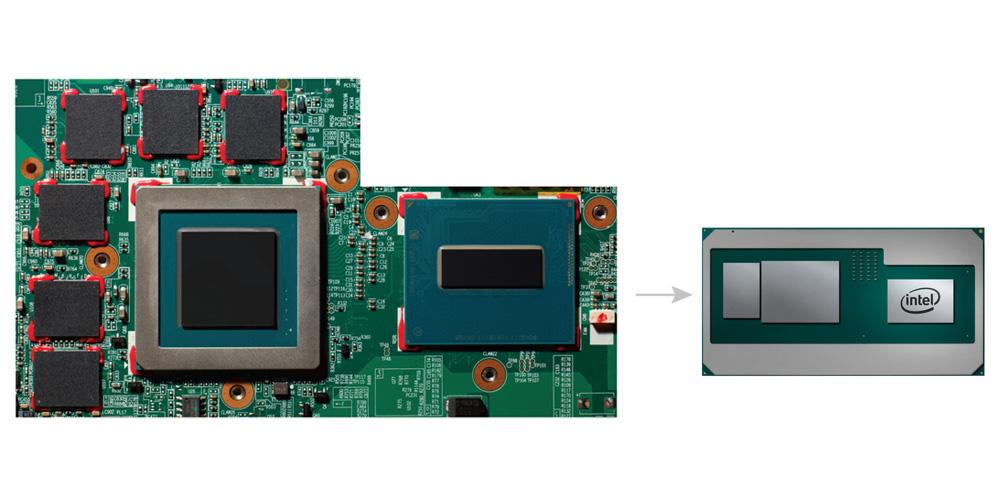 高性能CPUとAMDのカスタムディスクリートグラフィックスを組み合わせた新しいインテル「Core」プロセッサと従来プロセッサの比較