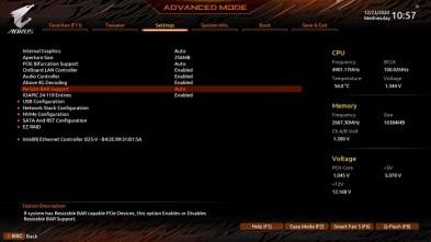 Z490搭載製品BIOS設定画面