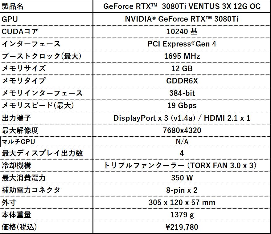 GeForce RTX 3080Ti VENTUS 3X 12G OC